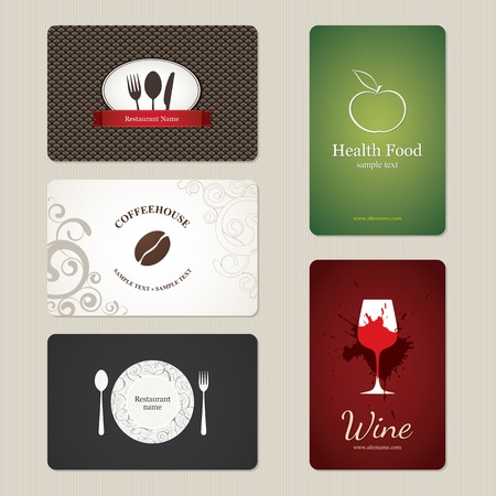 Set of 5 detailed business cards  For cafe and restaurant  Stock Vector - 13195472