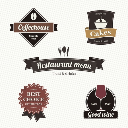 bakery products: Set of restaurant labels