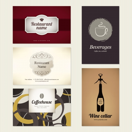 Set of 5 detailed business cards  For cafe and restaurant Stock Vector - 14411474