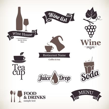 vinho: Jogo de etiquetas do restaurante