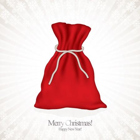 velvet ribbon: Santa red sack  Illustration