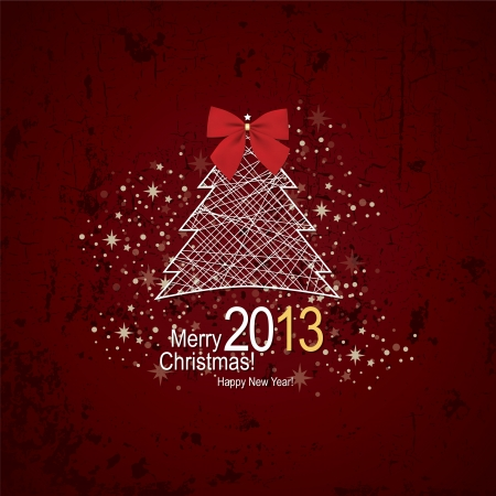 Christmas   New Year  Vector greeting card Stock Vector - 14957880