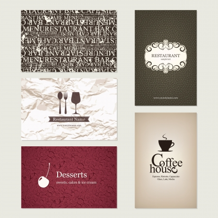 Set of 5 detailed business cards  For cafe and restaurant Stock Vector - 14957886