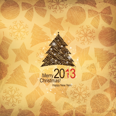 Christmas and New Year  Vector greeting card Stock Vector - 14957885