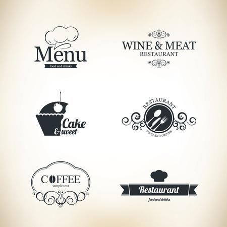 cafe bar: Label set voor restaurant en cafe
