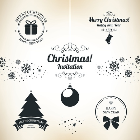 Christmas and New Year symbols for designs postcard, invitation, poster and others Vector