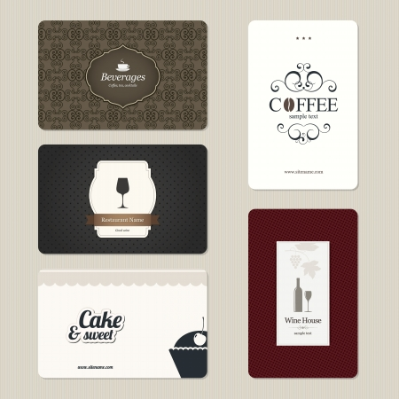 wine label: Set of 5 detailed business cards. For cafe and restaurant