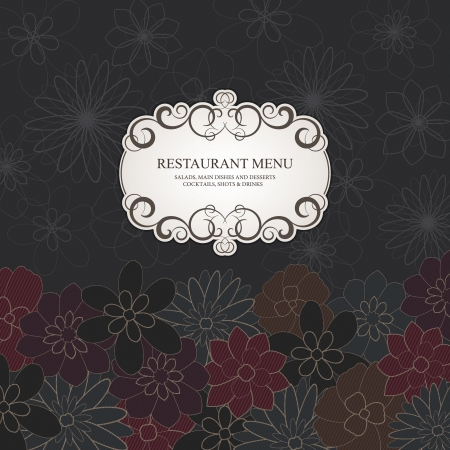 Restaurant menu design, with stylish flower background Vector