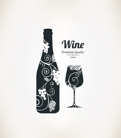 bunch of grapes: Wine list design Illustration