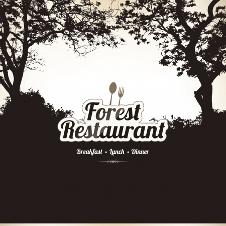Restaurant menu design with forest theme Vector
