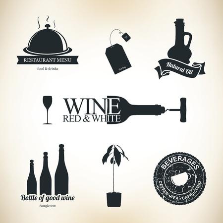 wijn en spijzen: Eten en drinken design elementen en labels