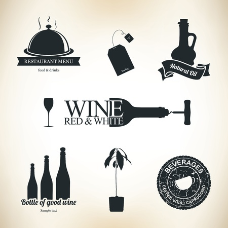 food and wine: Food and drinks design elements and labels Illustration
