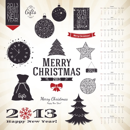 Christmas decoration set for your design Vector