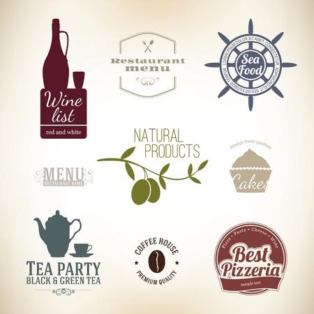 pane e vino: Etichetta Vintage impostato per ristorante e caffetteria