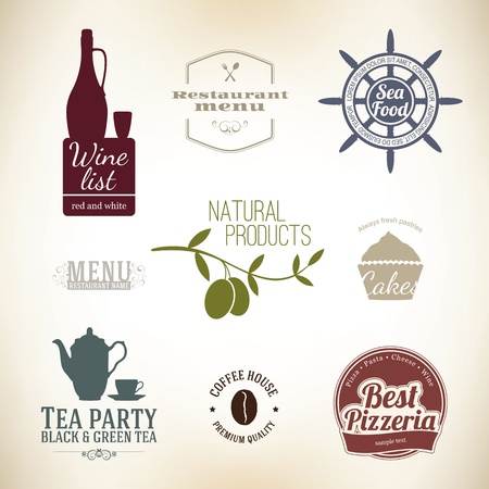 bread and wine: Vintage label set for restaurant and cafe
