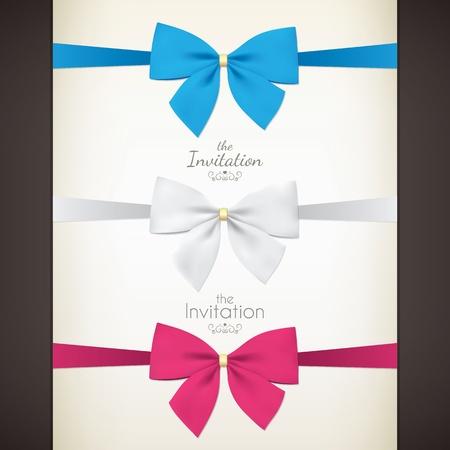 pink bow: Juego de arco de colores para tus invitaciones Vectores