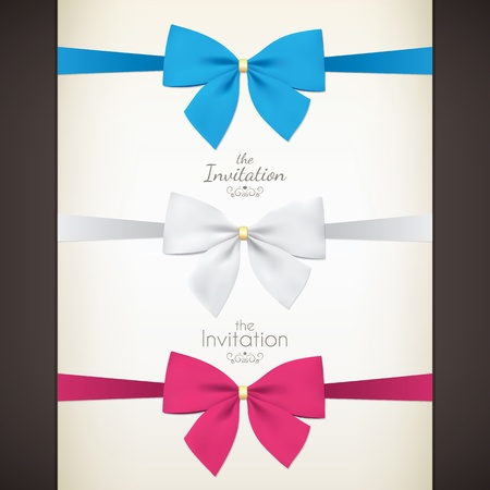 red ribbon bow: Set of colored bow for your invitations