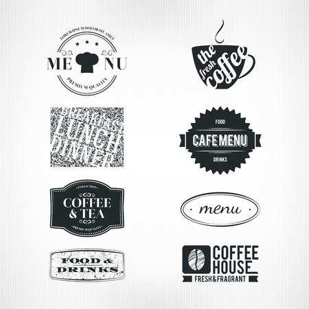 cup of tea: Label set for restaurant and cafe