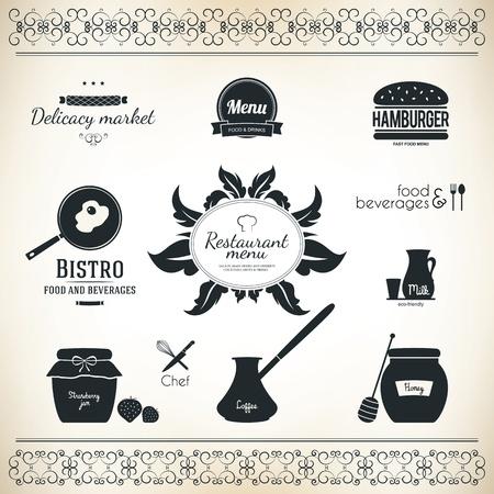 sausage pot: Label set for restaurant and cafe