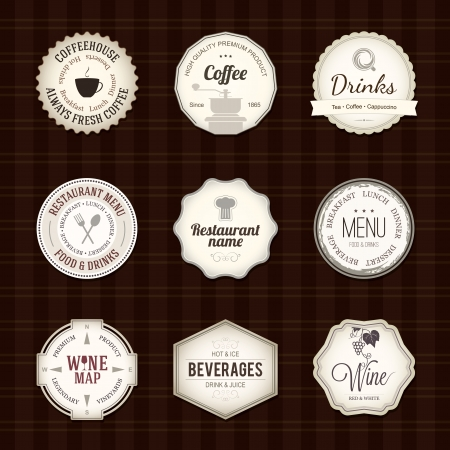 menu restaurant: Jeu d'�tiquettes pour le restaurant et le caf�