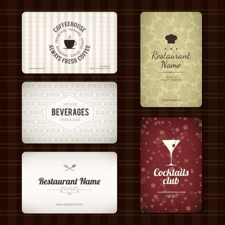gorro chef: Juego de 5 tarjetas de visita detalladas para bar y restaurante Vectores