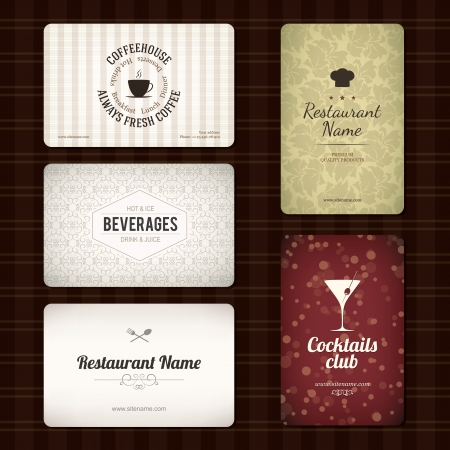 Set of 5 detailed business cards  For cafe and restaurant Vector