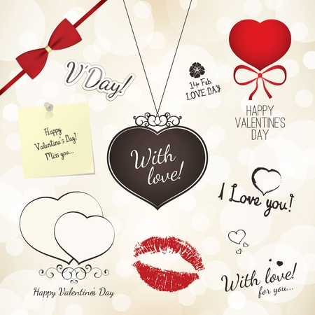 Set of Valentine s Day design elements Stock Vector - 16424720