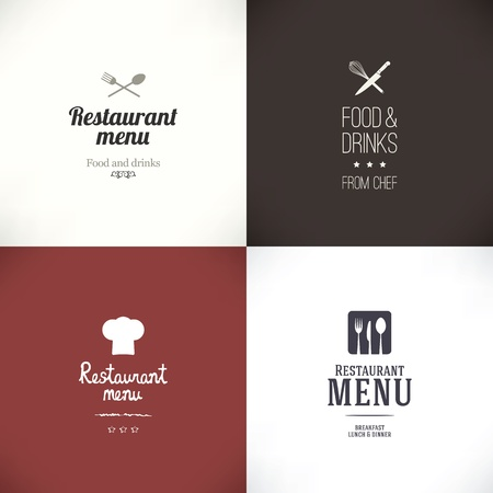 cooking: Label set for restaurant and cafe