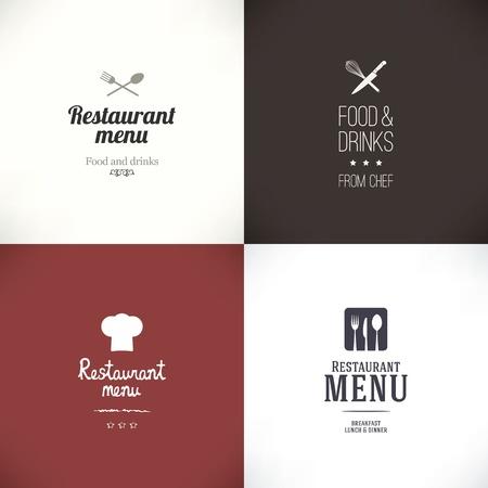 chef hat: Label set for restaurant and cafe