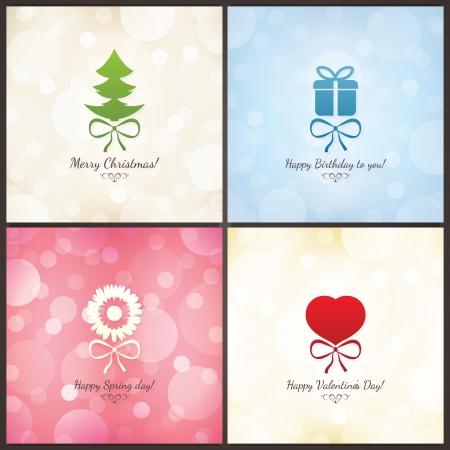 Jeu de cartes de voeux de vacances de Noël, anniversaire, Saint-Valentin