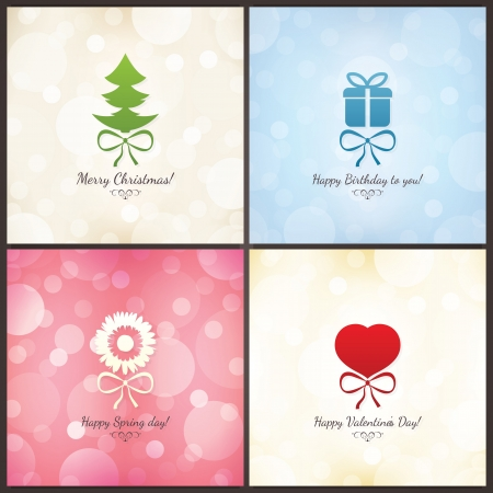 Set of holiday greeting cards   Christmas, Birthday, Valentines Vector