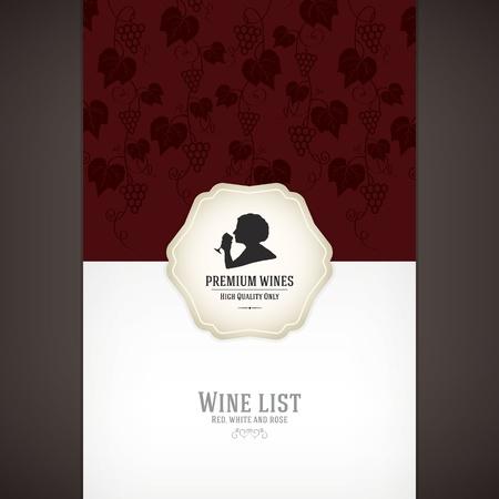 food wine: Wine list design Illustration
