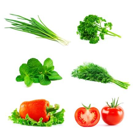 parsley: Set of fresh vegetables