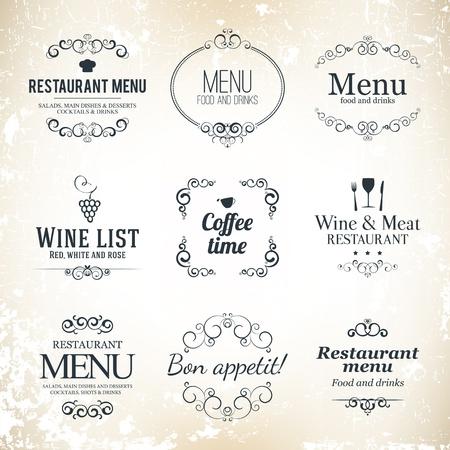 Set Label per il menu di progettazione ristorante Vettoriali