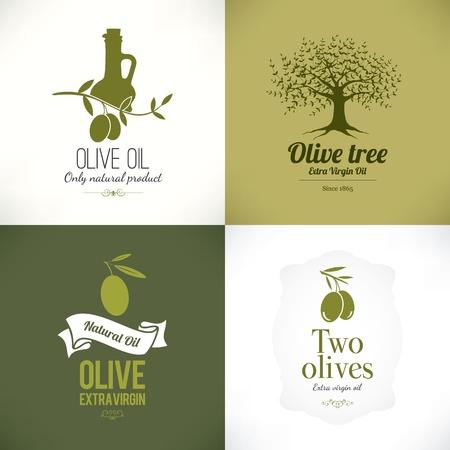 foglie ulivo: Set di etichette di ulivo