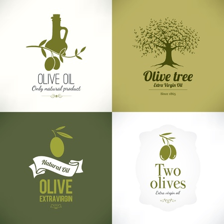 olive leaves: Set of olive labels