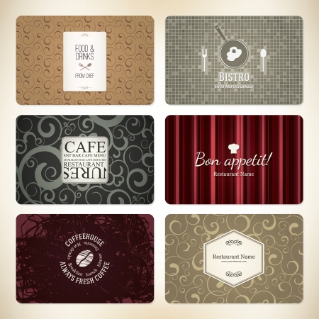 Set of 6 detailed business cards  For cafe and restaurant Stock Vector - 17989320