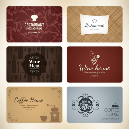 Set of 6 detailed business cards  For cafe and restaurant Stock Vector - 17989342