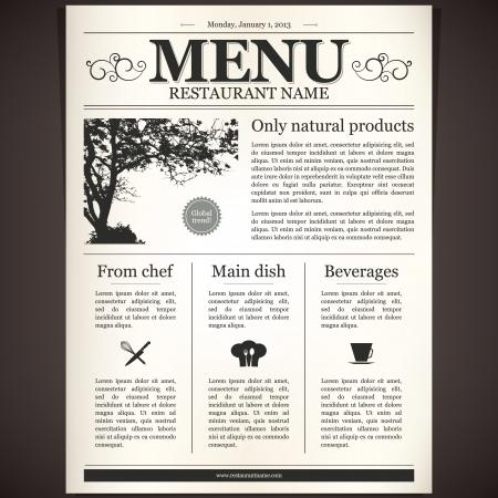 peri�dico: Dise�o del men� del restaurante