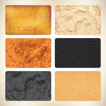 Set de 6 backgrounds vector del papel arrugado para tarjetas de visita