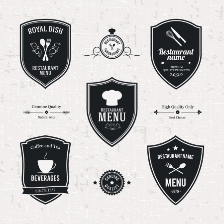 badge shield: Label set for restaurant and cafe
