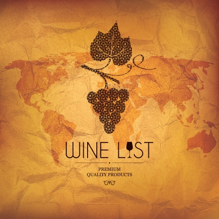 wine and food: Wine list design Illustration