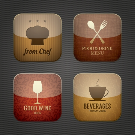 mobile app: Food and drink application icons, restaurant theme