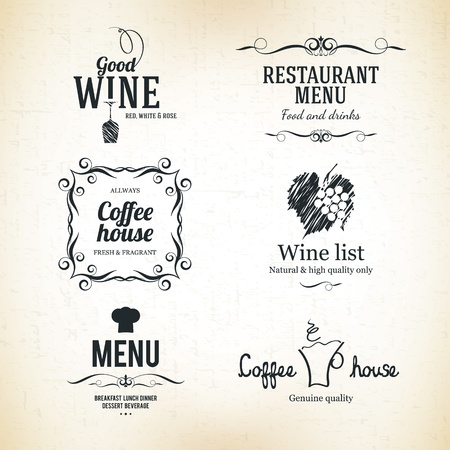 Label set for restaurant, cafe or coffeehouse Vector