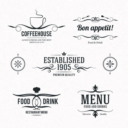 gorro chef: Etiqueta del conjunto de restaurante, cafeter�a o caf� Vectores