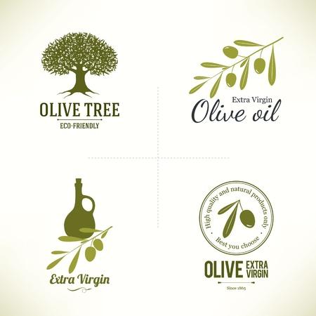 olive leaf: Conjunto de etiquetas de oliva