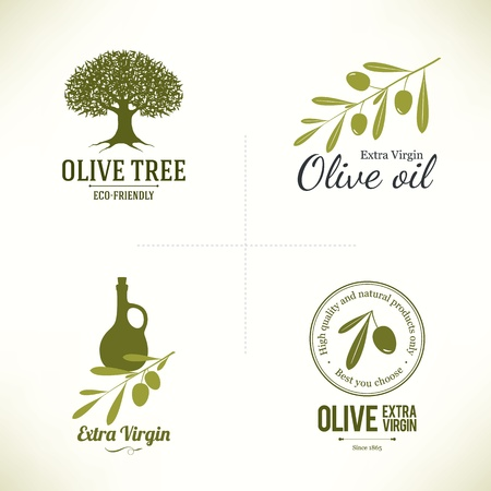olive tree: Set of olive labels