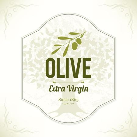arbol: Etiqueta de oliva Vectores