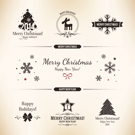 new year's: Christmas and New Year decoration set for your design