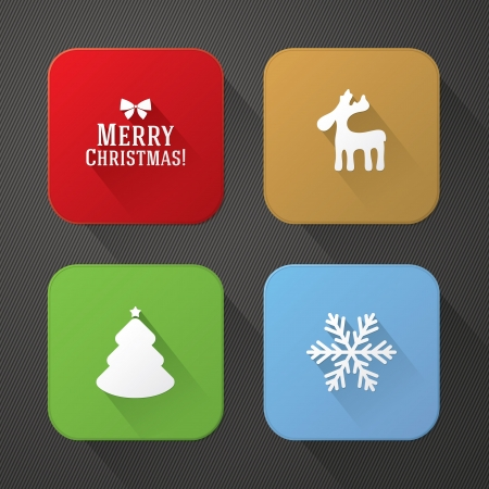Christmas and New Year trendy application icons Vector
